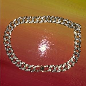 "18"" Cuban Link Choker With CZ Diamonds"